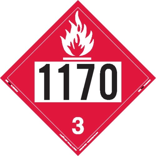 Labelmaster ZEZ21170 UN 1170 Flammable Liquid Hazmat Placard, E-Z Removable Vinyl (Pack of 25) by Labelmaster®
