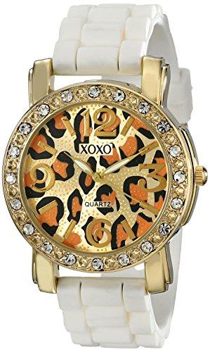 XOXO Women's XO8059 Rhinestones Accent White Silicone Strap Watch (For Cheetah Women Watches)