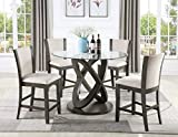 Roundhill Furniture P085GY 5-Piece Cicicol Glass Top Counter Height Dining Table with Chairs