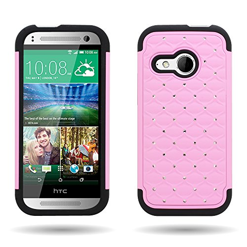 For HTC One Remix / HTC One Mini 2 Hybrid Bling Case by CoverON - Light Pink + Black