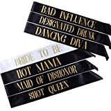 Pop Fizz Designs Pack of 7 Bachelorette Sashes- Includes 1 Bride to Be sash and 6 Bridesmaid sashes