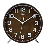 JUSTUP 8 Inch Wood Table Clock, Retro Non-Ticking