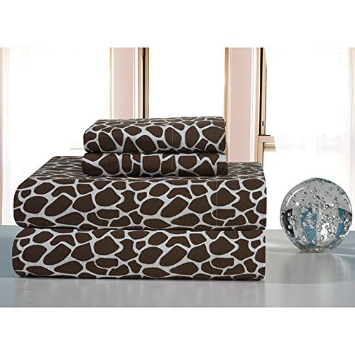 3 Piece Kids Brown Giraffe Pattern Sheet Twin XL Set, Beautiful African Safari, Exotic Wild Animal Print Bedding, Features Extra Deep Pocket, Fully Elasticized Fitted, Soft & Durable Cotton Flannel
