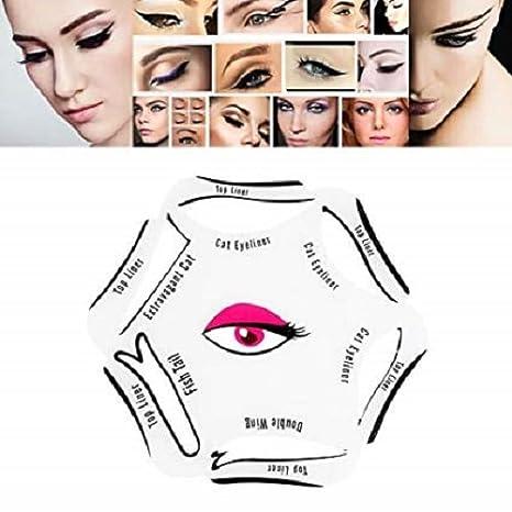 6 en 1 Pro Maquillaje Nuevo Estilo Gato Ojo Peces cola Doble ala Eyeliner Plantilla Modelos Plantilla Shaper Herramienta Fennys Creatyions: Amazon.es: ...