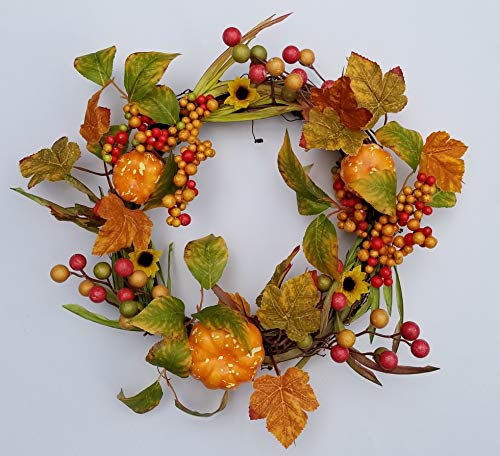 - Homester Fall Leaves Berry Pumpkin Wreath Candle Ring 14