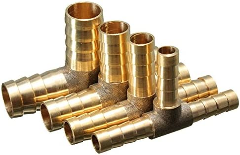Alamor 6mm 8mm 10mm 12mm Messing T-St/ück 3-Wege-Kraftstoffschlauch Verbindungsst/ück F/ür Luft-/Öl-Gas-10mm