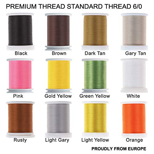 Riverruns Super Realistic Standard Thread 3/0,6/0,8/0,Twisted Thread, Body Thread Fly Tying Material Proudly from Europe Tie Flies Body (12 Color/Set Standard Thread 6/0)