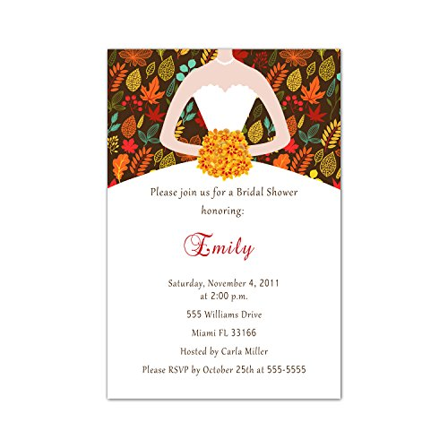 Fall Invitation Leaves Wedding (30 Invitations Fall Autumn Leaves Bride Fancy Dress Bridal Shower Wedding Couples Personalized Cards + 30 White Envelopes)