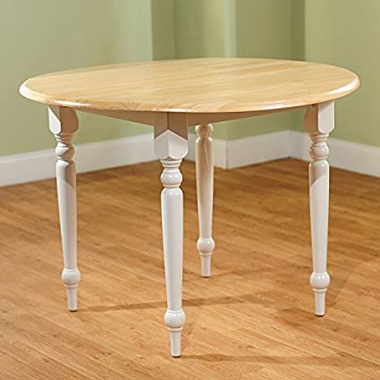 cottage style 40 inch diameter round dining table with double drop leaf   constructed amazon com  cottage style 40 inch diameter round dining table with      rh   amazon com