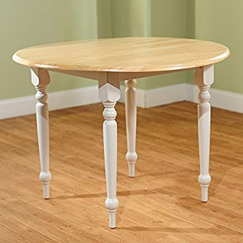 Cottage Style 40-inch Diameter Round Dining Table with Double Drop-leaf -  Constructed From Solid Rubberwood - Beige Finished Tabletop and White  Turned ...