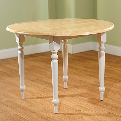 Cottage Style 40-inch Diameter Round Dining Table with Double Drop-leaf - Constructed From Solid Rubberwood - Beige Finished Tabletop and White Turned Legs - Ideal for 2 to 4 Persons Double Leaf Extensions