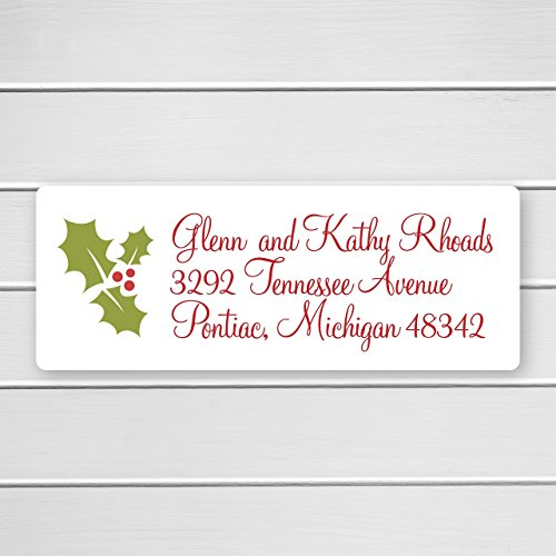 Christmas Return Address Labels, Holly Return Address Stickers, Holiday Address Stickers (#392)