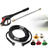 High Pressure Spray Gun,3000PSI High Pressure Car Power Washer Cleaner Spray Gun Wand Tips Hose Kit USA Stock (2 Wand)