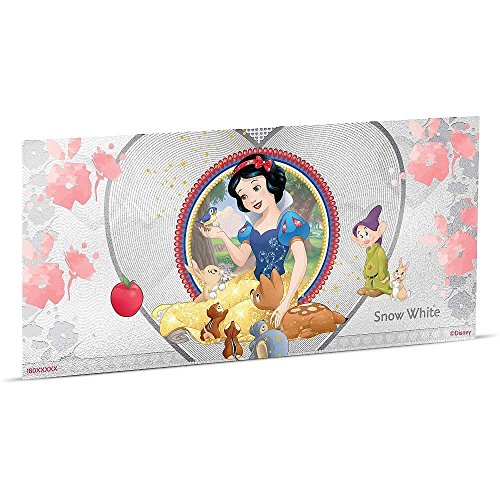 2018 NU Disney Princess - Snow White Silver Coin Note - Niue 1 Dollar Perfect Uncirculated