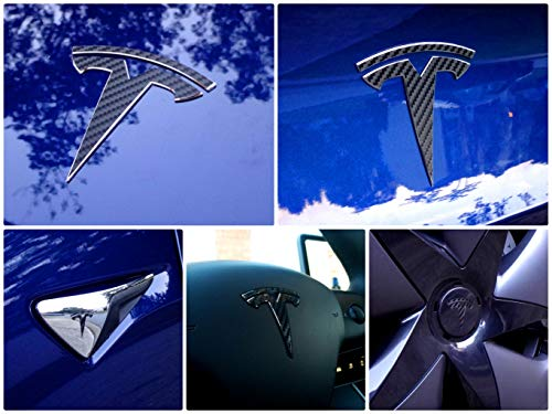 EV Wraps Tesla Model 3 Logo Decal Bundle (Carbon ()