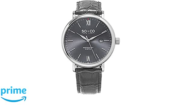 Amazon.com: SO & CO New York Mens 5266L.2 Grey Leather Watch: SO & CO: Watches