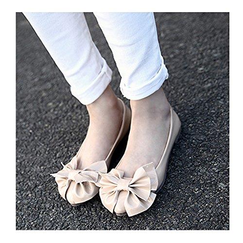 OCHENTA Mujer Boda Zapatos Puntiagudo Moda Mariposa Casual #888-13Albaricoque