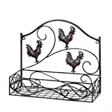 MyEasyShopping Three Roosters Wall Basket, 1-Three Roosters Wall Basket, Three Wall Basket Roosters Storage Rack Iron Country Kitchen Home Decor Style Black Organizer Shelving Holder Decoration
