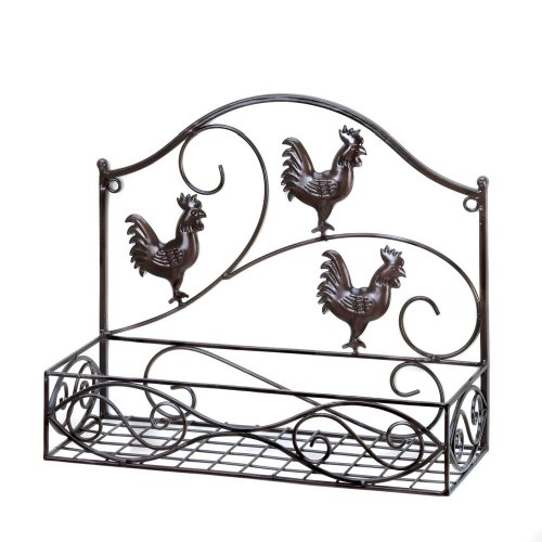 MyEasyShopping Three Roosters Wall Basket, 1-Three Roosters Wall Basket, Three Wall Basket Roosters Storage Rack Iron Country Kitchen Home Decor Style Black Organizer Shelving Holder Decoration by MyEasyShopping (Image #1)