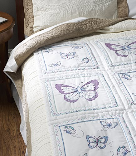 Bucilla Stamped Quilt Blocks, 46067 Butterfly