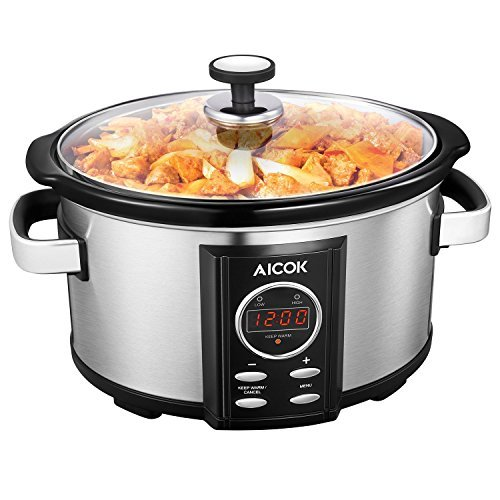 Aicok Slow Cooker, Programmatic Slow Cooker, 7-Quart Oval Cooker with Digital Timer, Removable Ceramic Cooking Pot, Stainless Steel by AICOK