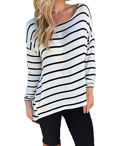 FACE N FACE Women's Round Neck Striped Stretch Basic T Shirt Tops Long Sleeve Blouse Medium Strip (Sexy Women Strip)