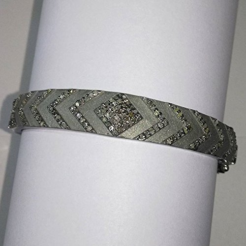 Sterling Silver Arrow Pattern Pave Diamond Bangle Hinged Bracelet