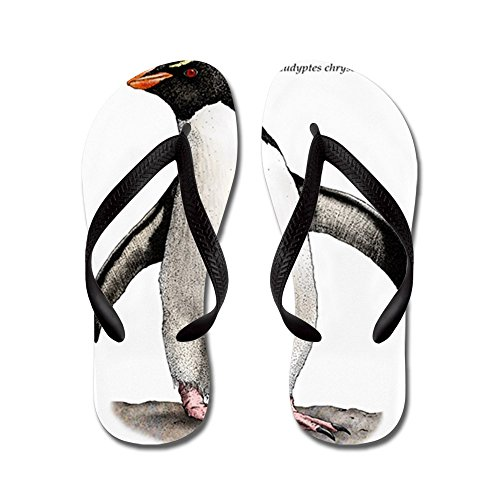 Cafepress Southern Rockhopper Pinguïn - Flip Flops, Grappige String Sandalen, Strand Sandalen Zwart
