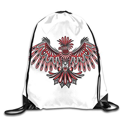 Drawstring Backpacks Bags,Haida Art Eagle Motif Native American Tribal Pattern Totem Illustration,5 Liter - Art Haida Native