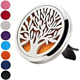 FLYMEI Tree of Life Car Air Freshener Aromatherapy Essential Oil Diffuser Locket with Vent Clip, 8 Washable Pads & Gift box - Hypo-allergenic 316L Surgical Stainless Steel Gift Set