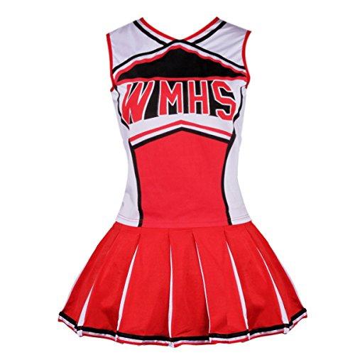 Women's Cheerleader Costume Uniform Fancy Dress (size M, Red) (Top Fancy Dress Costumes)