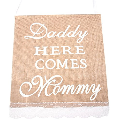 Daddy Here Comes Mommy Banner Hessian Rustic Country Wedding Sign for Wedding Party
