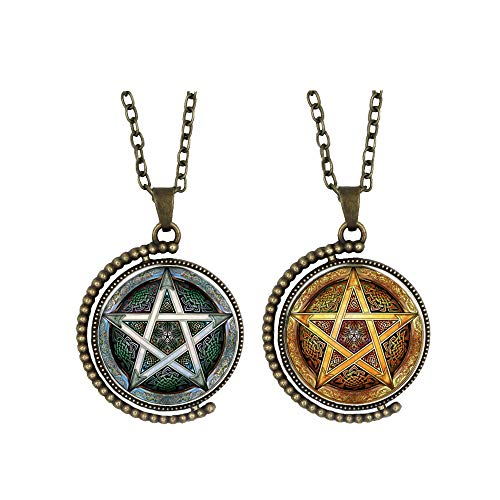 Pentagram necklace Double Sided Five-pointed Star Pendant on Alloy Stainless Steel hexagram Men Women Jewelry