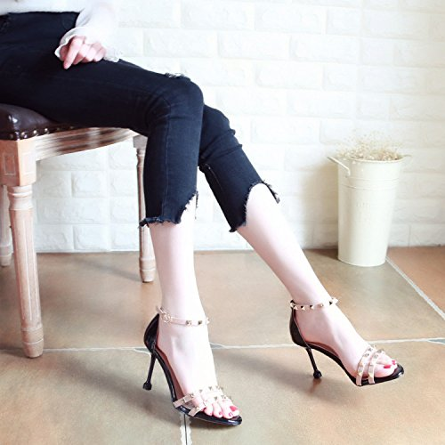 YMFIE Zapatos Pink Zapatos Verano de 2018 Lady Nuevo Remaches Toe tacón zgrwzOq