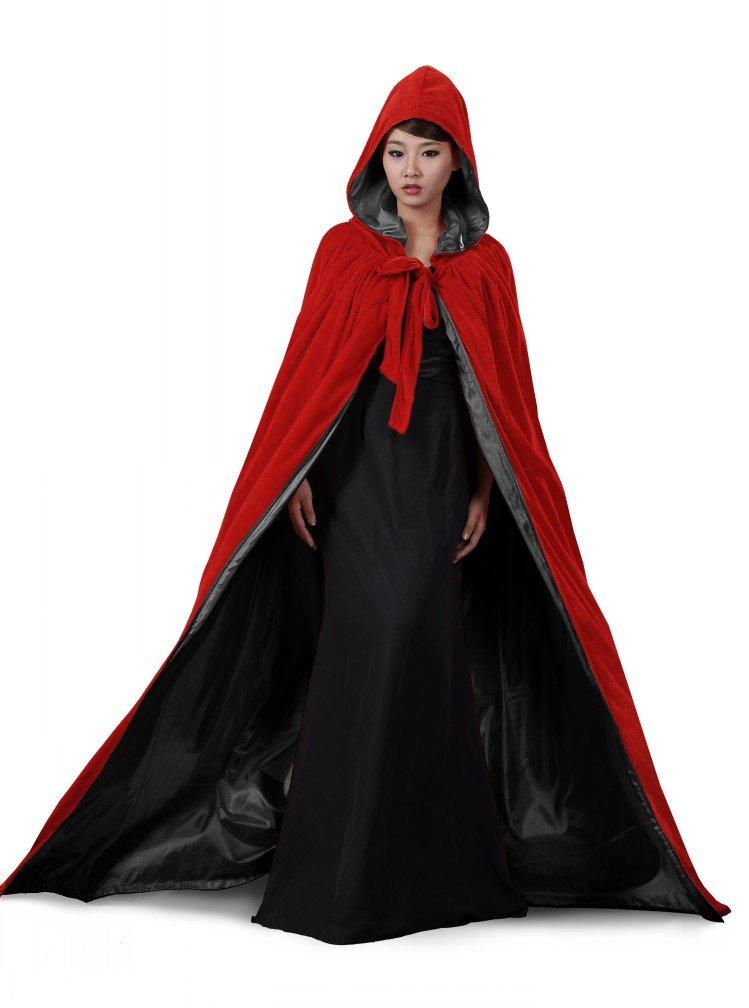 ANGELWARDROBE Halloween Hood Cloak Wedding Cape Red-Black-M