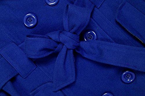 Veste Bleu Manteau Ceinture Blouson Polaire Capuche Angvns Uni Femme Hiver Long Bouton q6Pnd0