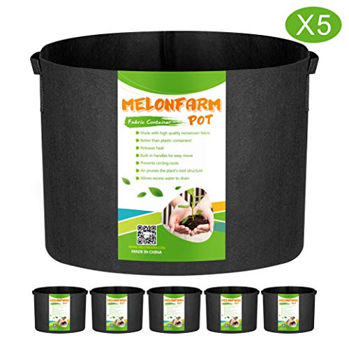 MELONFARM 5-Pack 10 Gallon Plant Grow Bags - Smart Thickened Non-Woven Aeration Fabric Pots Container with Strap Handles for Garden and Planting