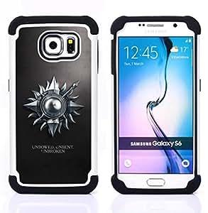 """Samsung Galaxy S6 / SM-G920 - 3 en 1 impreso colorido de Altas Prestaciones PC Funda chaqueta Negro cubierta gel silicona suave (Erguida sin doblar ininterrumpida"""")"""