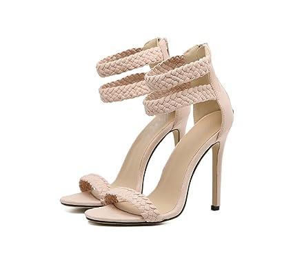 fd1c7808884 LIANGXIE Ladies Fine Heel-stylish Fish Beak High Heel Sandal-pure Color  Classic Woven