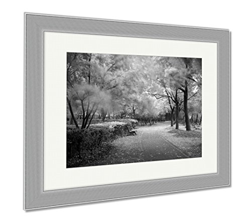 Ashley Framed Prints Green City Park Shanghai China, Wall Art Home Decoration, Black/White, 30x35 (frame size), Silver Frame, AG5898334