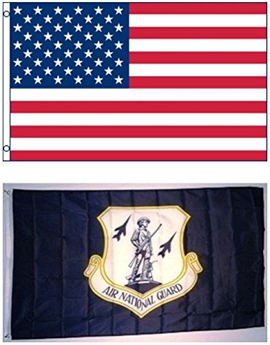 3'x5′ US AMERICAN and US AIR NATIONAL GUARD Minutemen at the Ready Polyester Flags