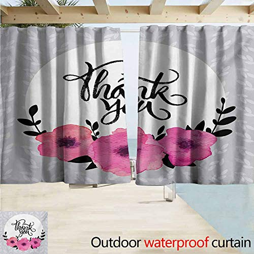 (AndyTours Outdoor Patio Curtains,Modern Rounded Thank You Quote Above The Purple Flowers Behind Leaf Ivy Background,Rod Pocket Curtain Panels,W63x72L Inches,Grey and White)