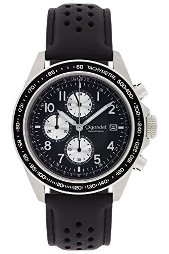 Gigandet Men's Quartz Watch Racetrack Chronograph Analog Stainless Steel Leather Strap Black G24-006