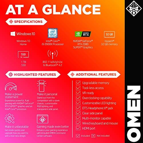 OMEN by HP Obelisk Gaming Desktop Computer, 9th Generation Intel Core i9-9900K Processor, NVIDIA GeForce RTX 2080 SUPER 8 GB, HyperX 32 GB RAM, 1 TB SSD, VR Ready, Windows 10 Home (875-1023, Black) 12