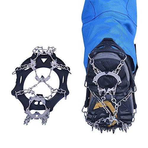 Sinicyder 19 Teeth Steel Ice Gripper Spike,Non-Slip Ice Snow Climbing Shoe Spikes Crampons Cleats Chain Claws Grips Boots Cover Anti-Slip Crampons M//L