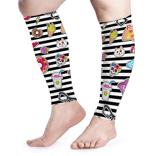 - Pizza Shoe Stripes Skull Cat Cute Food Cool Running Home Workout Sport Gym Gear Accessories Calf Compression Sleeve Leg Jobs Running Half Foot Guard Protective Supports Guards