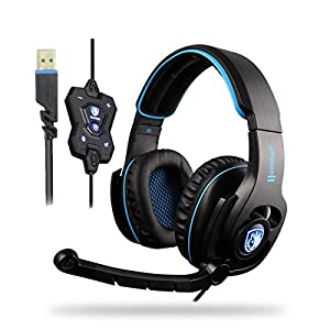 SADES 50mm Super Bass Speaker 7.1 Surround Sound Headphones with Mic/Breathing Led light/Length-adjustable Headband Noise Cancelling Gaming Headset For PC/MAC/LAPTOP/GAMMER (Hammer)