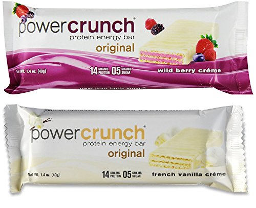 Bionutritional Power Crunch hdIIdEy Protein Energy Bars Wild Berry Creme/French Vanilla Crème, 6 of each Power Crunch Berry Creme