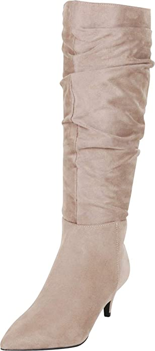 90d81feceec4 Cambridge Select Women s Pointed Toe Slouch Mid Kitten Heel Knee-High Boot