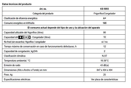 Severin KS 9893 Mini-Frigorífico con Compartimento Congelador, 86 ...